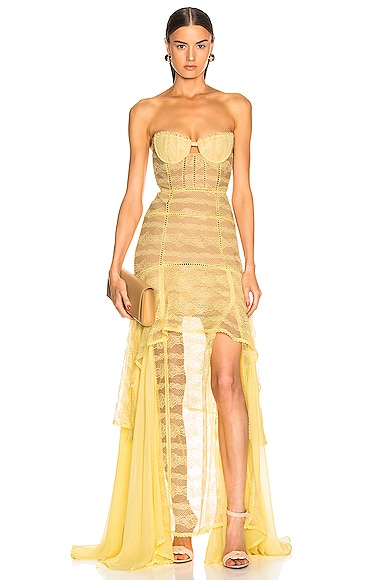 Embroidered Chiffon Bustier Gown