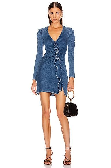Classic Long Sleeve Ruffle Dress