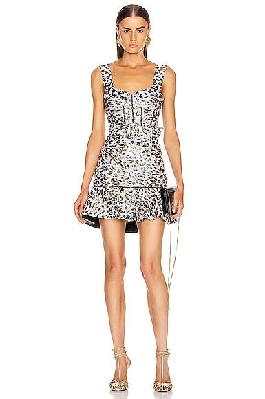 Leopard Jacquard Ruffle Dress