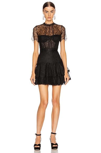 Lace Bustier Mini Ruffle Dress