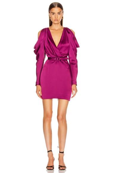 Pleated Sleeve Belted Mini Dress