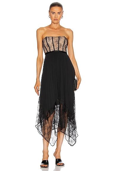 JONATHAN SIMKHAI Scarlett Strapless Pleated Midi Dress in Black | FWRD