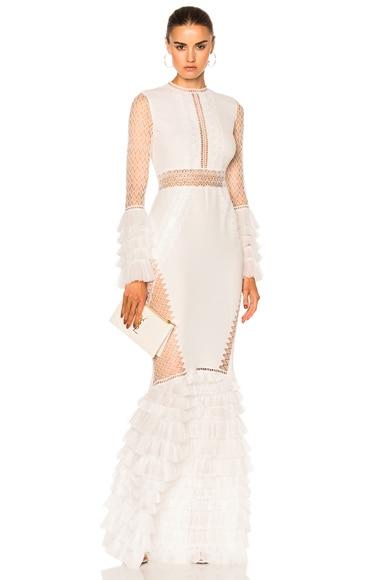Tiered Ruffle Long Sleeve Lace Dress
