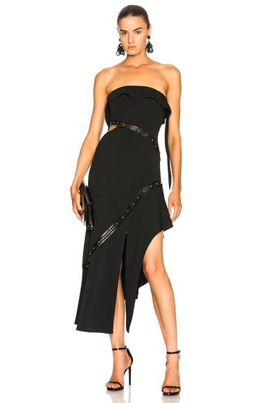 Studded Leather Trim Strapless Dress