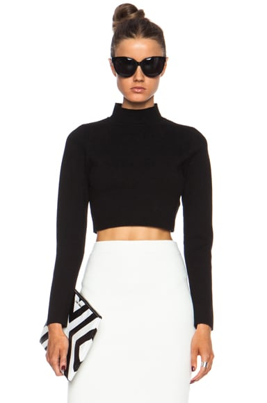 Cropped Rayon Turtleneck