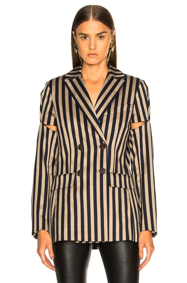 Stripe Double Breasted Jacket