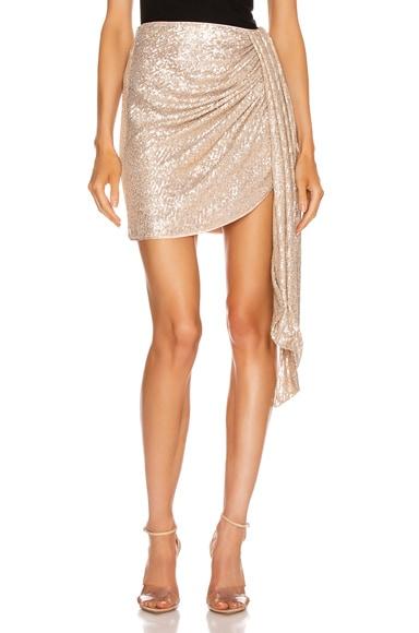 Sequin Mini Drape Front Skirt