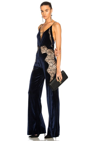 Stretch Lace Velvet Jumpsuit in Black