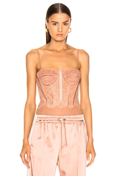 for FWRD Mixed Lace Bustier Bodysuit