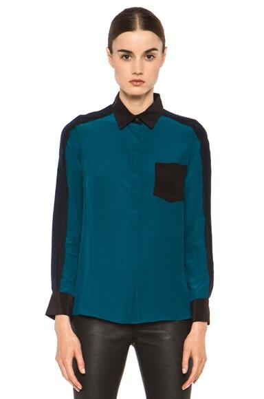 Colorblock Silk Blouse