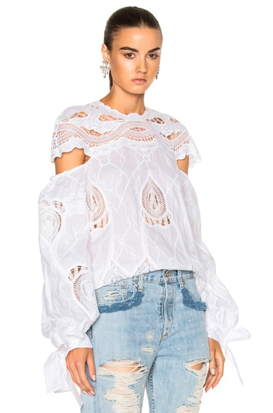Crochet Embroidered Blouson Sleeve Blouse Top