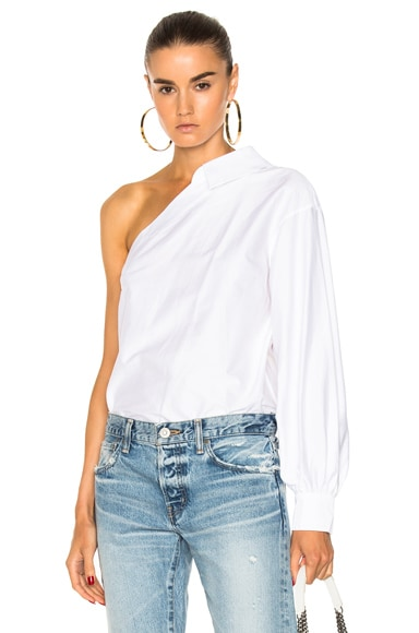 Stretch Poplin One Sleeve Top