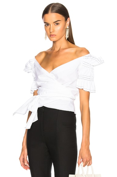 Ruched Cotton Off Shoulder Wrap Top