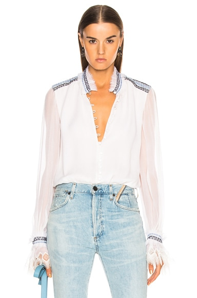 Smocked Lace Button Down Bodysuit