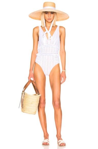 Lace Combo Vneck Swimsuit