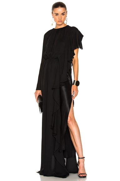 Asymmetrical Gathered Ruffle Gown