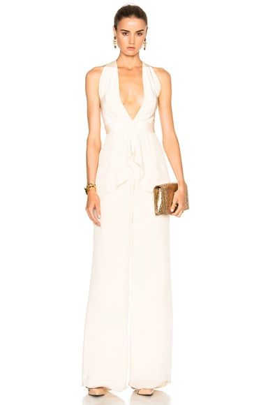 Isidora Silk Crepe Deep V-Neck Jumpsuit