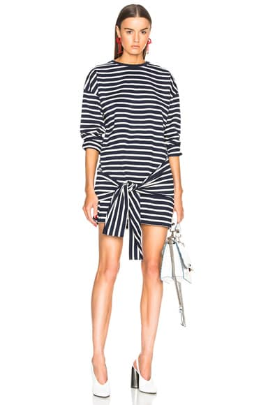 Stripe Tie Front T-Shirt Dress