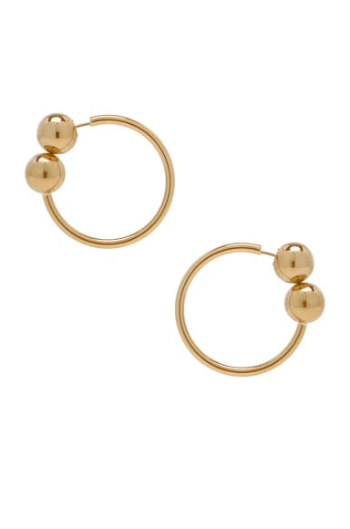 Double Ball Hoop Earrings