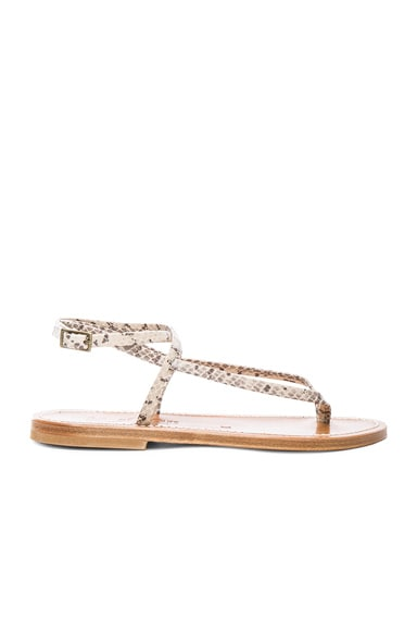 Snakeskin Embossed Leather Delta Sandals