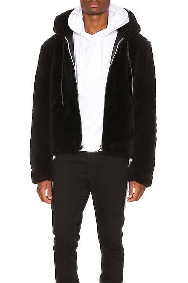Faux Fur Long Hair Wool Hoodie