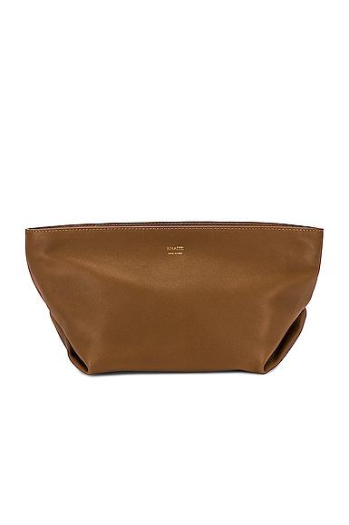 KHAITE Adeline Envelope Pleat Crossbody Bag in Brown