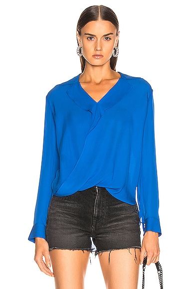 L'agence Tops L'AGENCE RITA DRAPE FRONT BLOUSE IN RIVIERA BLUE