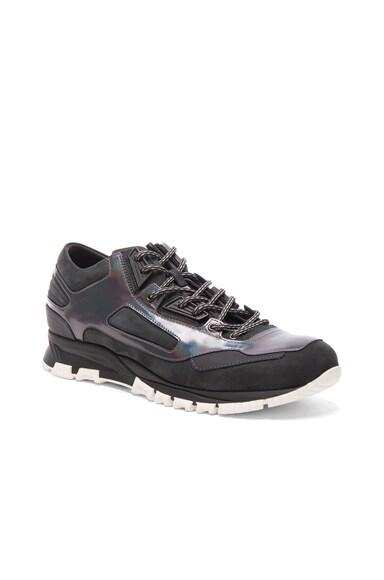Metallized Calfskin Patchwork Running Sneakers