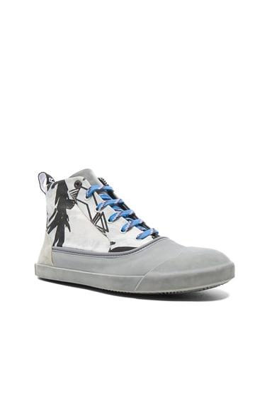 Printed Canvas Mid Top Sneakers