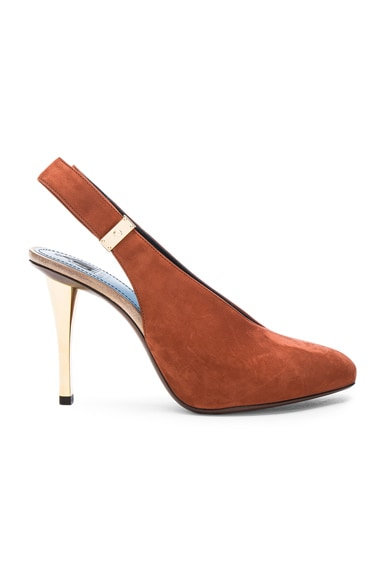 Safe Lock Slingback Suede Pumps in Chestnut
