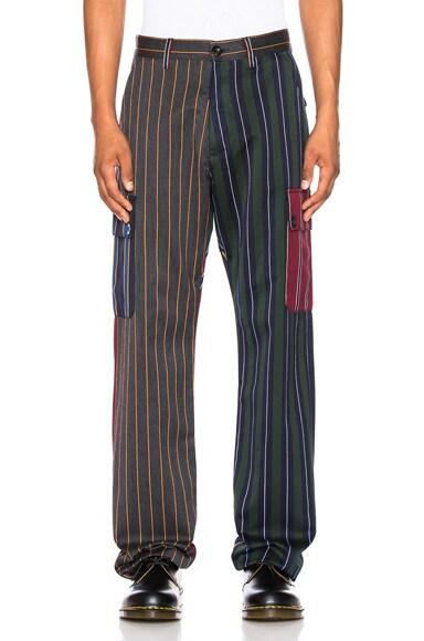 Patchwork Stripe Cargo Trouser
