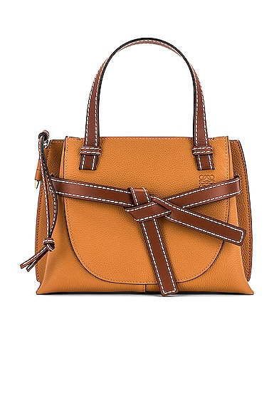 Loewe Ladies Soft Grained Calfskin Small Gate Top Handle Bag In Light Caramel