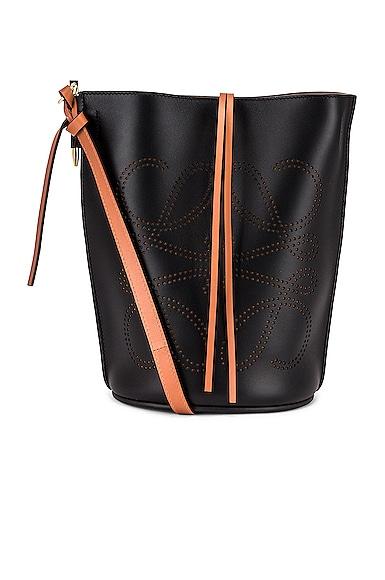Loewe Gate Bucket Anagram Bag in Black