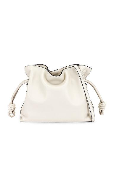 Loewe Flamenco Clutch Mini Bag in White