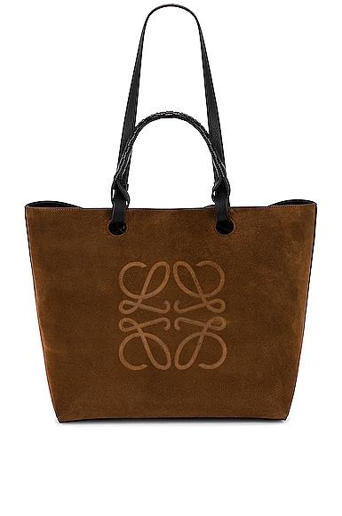 Loewe Anagram Suede Tote Bag in Brown