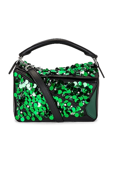 Loewe Puzzle Sequins Small Bag in Green