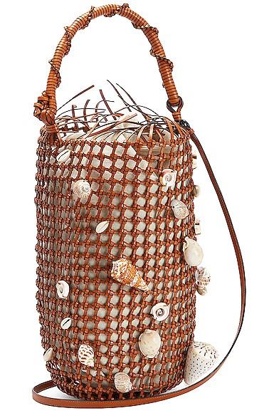 Loewe Paula's Ibiza Mesh Bucket Shell Bag in Tan