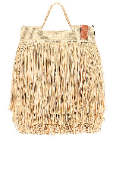 Loewe Paula's Ibiza Slit Fringes Bag in Tan