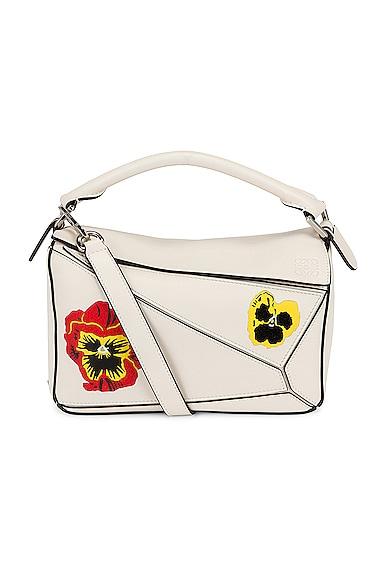 Loewe Puzzle Joe Brainard Pansies Small Bag in White