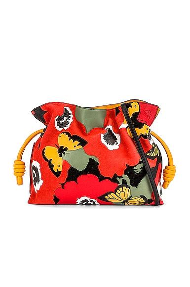 Loewe Joe Brainard Flamenco Pansies Clutch Bag in Red
