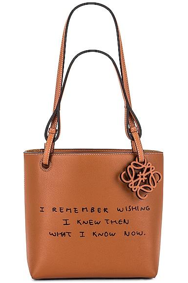 Loewe Joe Brainard DH Square Words Tote Bag in Tan