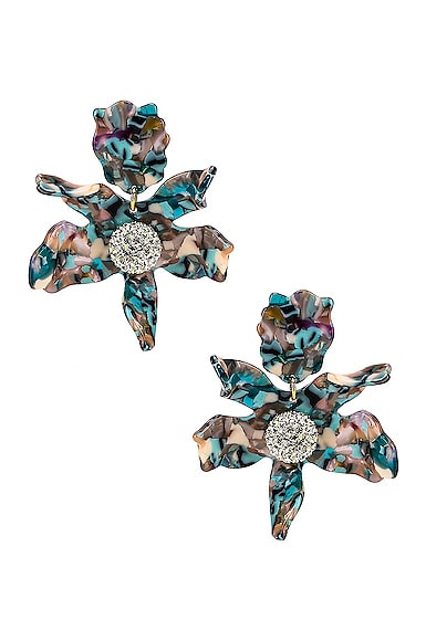 Crystal Lily Clip Earrings