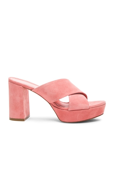 90MM X Strap Heel in Blush Suede