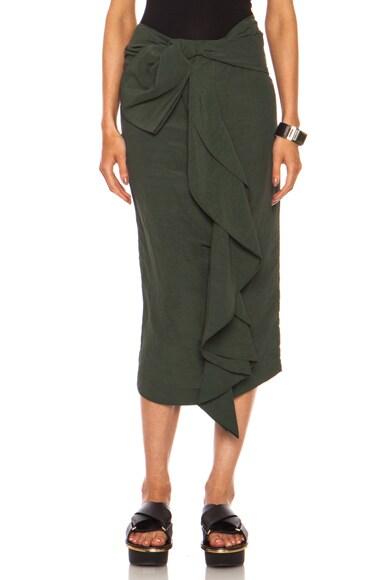 Viscose-Blend Tie Front Skirt