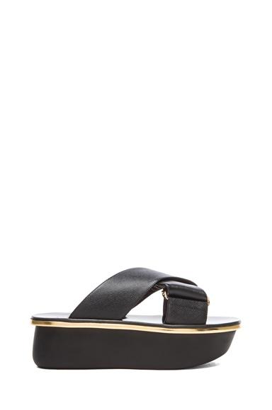 Saffiano Calfskin Leather Platform Wedge Sandals