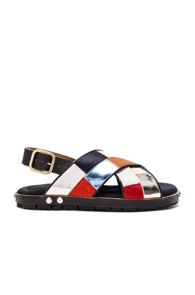 Calf Hair & Leather Patchwork Sandals