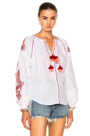 Poppy Flower Embroidered Top
