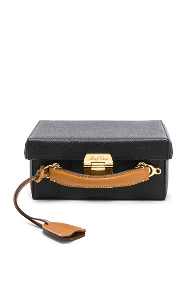 Small Bicolor Saffiano & Smooth Calf Grace Box Bag