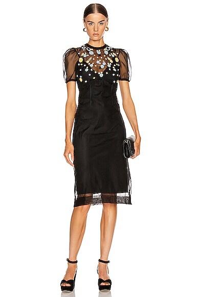 Short Sleeve Floral Embroidered Dress