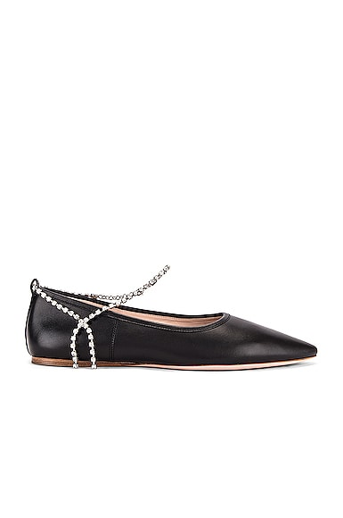 Leather Ankle Jewel Flats